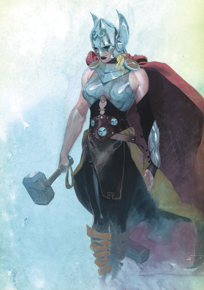 Click this great art by Esad Ribic to see Marvel's announcement of a new Thor. The Mighty Thor is the property of Marvel Comics, not me. Duh!