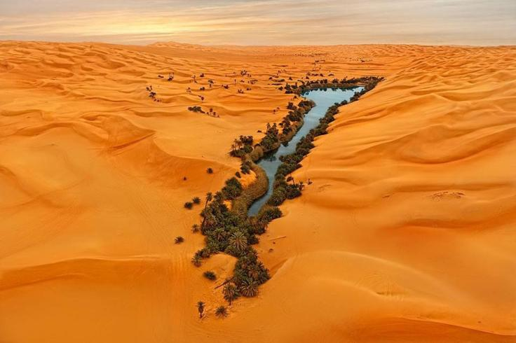 Lake Oum al-Maa in the Ubari Sand Sea of south-western Libya. Photographer unknown.