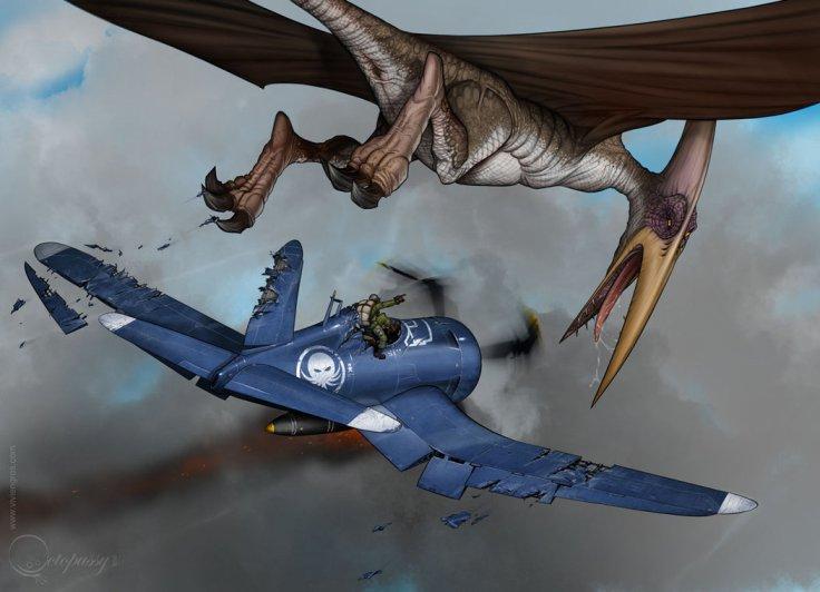 Corsair vs Pterausorus by Vivien Gros