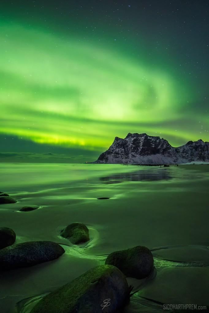 'Aurora Borealis Over Uttakleiv Beach' by Siddharth Prem