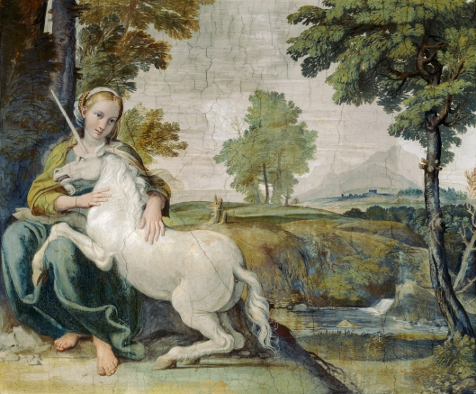 Virgin and Unicorn by Domenichino (1581 – 1641)