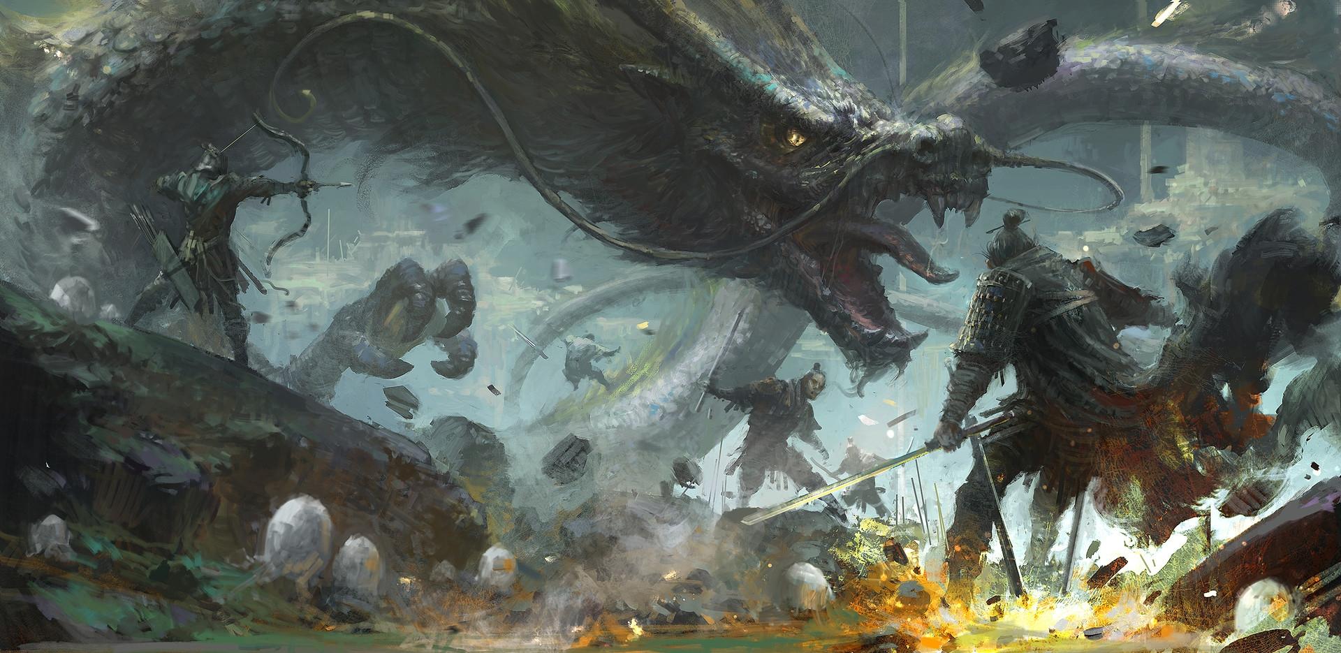 サムライ姿の兵士と戦う龍
