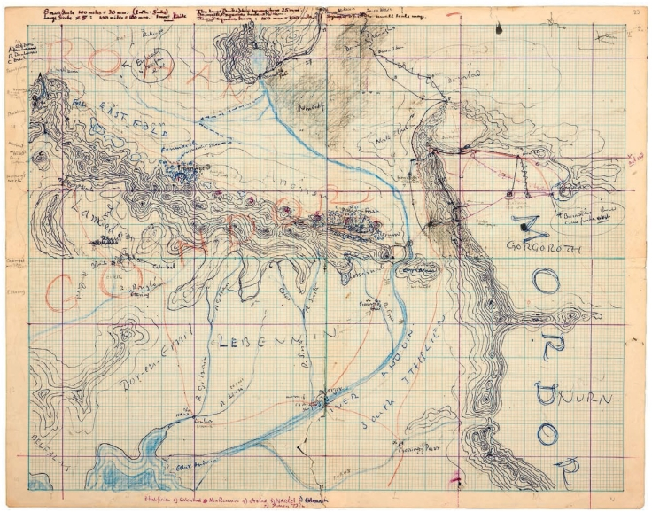 J. R. R. Tolkien's Hand Drawn Map of Middle Earth (1955)